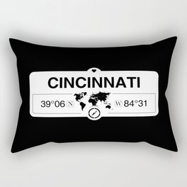 Cincinnati Ohio Map GPS Coordinates Artwork with Compass Rectangular Pillow