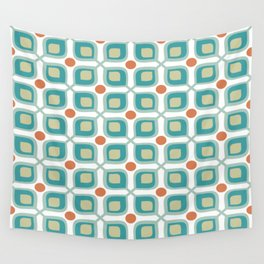 Abstract Flower Pattern Mid Century Modern Retro Turquoise Orange Wall Tapestry