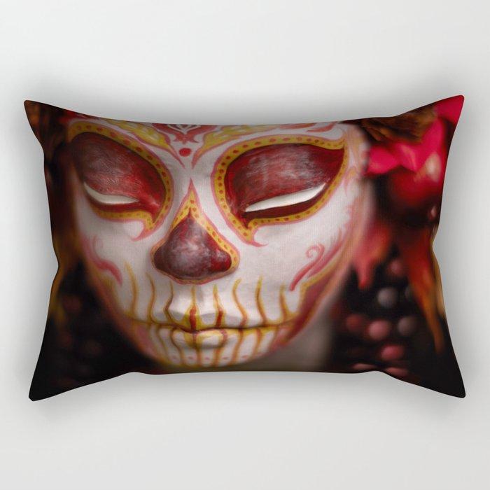 Crimson Harvest Muertita Detail Rectangular Pillow