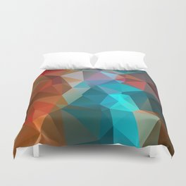 Abstract bright background of triangles polygon print illustration Duvet Cover