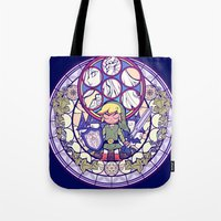 the legend of zelda Tote Bags featuring The Legend Of Zelda by NicoleGrahamART
