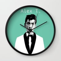 alex turner Wall Clocks featuring Arctic Monkeys, Alex Turner by Morgane Dagorne
