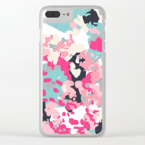 Addison - abstract minimal painting perfect gift valentines day hot pink love Clear iPhone Case