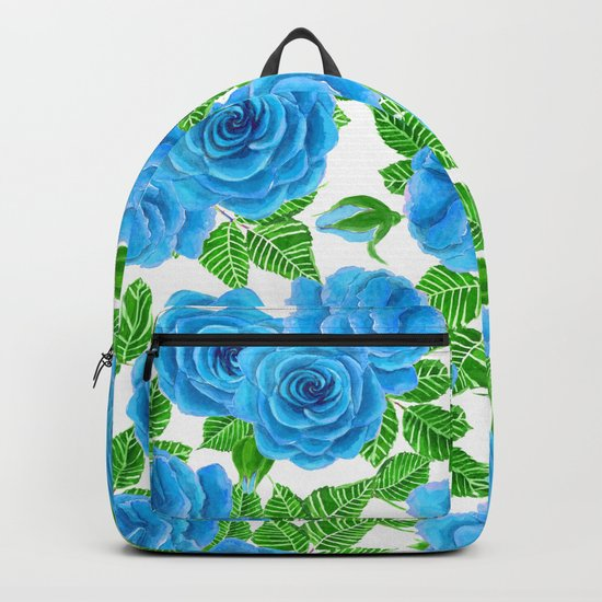 Blue roses watercolor seamless pattern Backpack