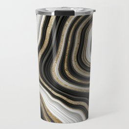 Gold And Black Agate Gemstone Travel Mug