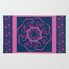 Hope Mandala with Border - Fuschia Navy Rug