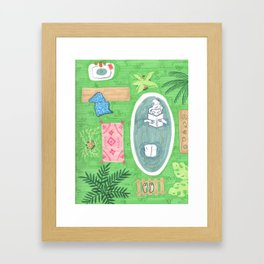 Green Tiled Bath drawing by Amanda Laurel Atkins Framed Art Print