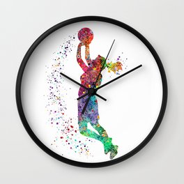 Basketball Girl Player Sports Art Print Wall Clock