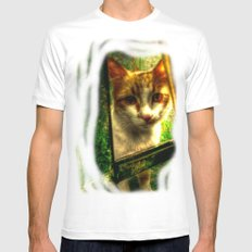 Daisy Cat Mens Fitted Tee White MEDIUM