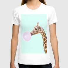 GIRAFFE White MEDIUM Womens Fitted Tee