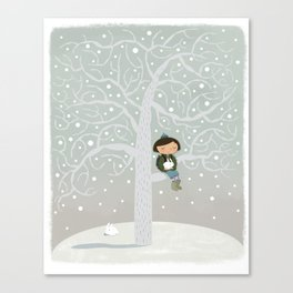 Winter Tree Girl  Canvas Print