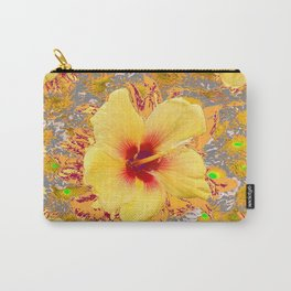 Golden Yellow Red Tropical Hibiscus Patterns Carry-All Pouch