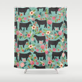 Show Steer cattle breed floral animal cow pattern cows florals farm gifts Shower Curtain