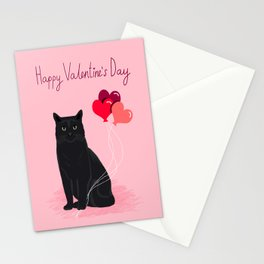 Black Cat valentines day balloons hearts cat breeds must have gifts valentine's day Stationery Cards