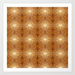 Rich Gold Bronze Mandala Engraved Pattern Art Print