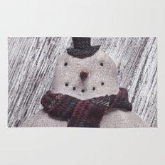 Primitive Folk Art Snowman Rug