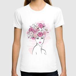 Pink Floral Hat Lady Fashion illustration art print T-shirt