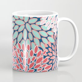 Flower Print, Navy, Red, Pink, Green Coffee Mug
