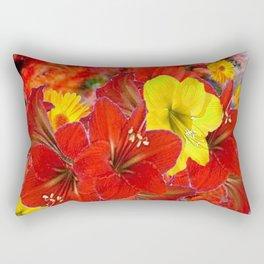 DECORATIVE RED-YELLOW AMARYLLIS BOUQUET Rectangular Pillow
