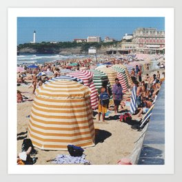 Biarritz Beach Tents Art Print