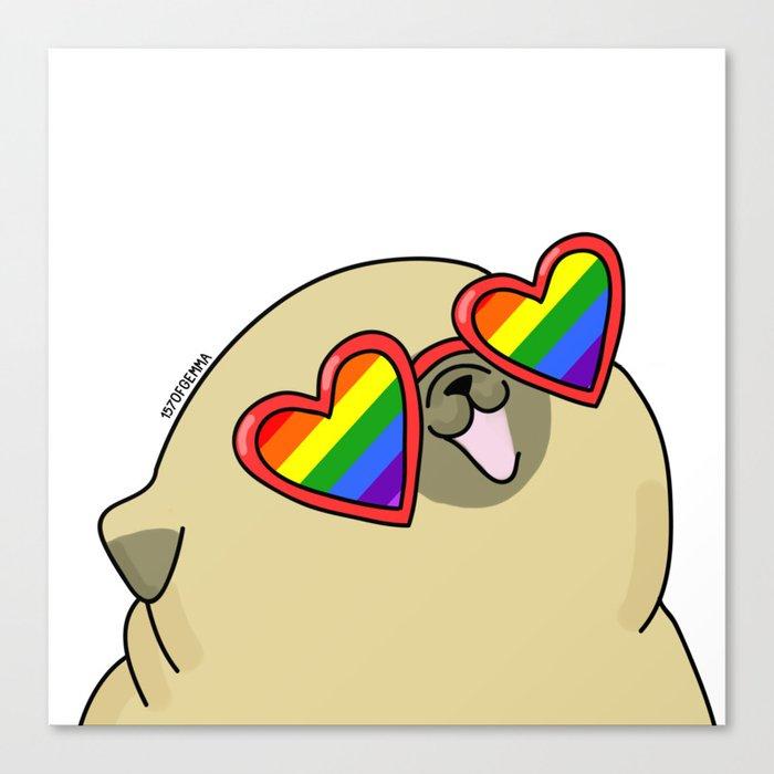 Pug love lgtb pride Leinwanddruck