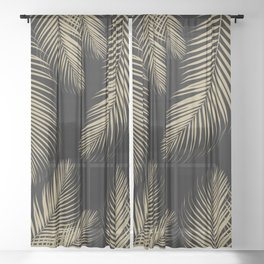 Palm Leaves - Gold Cali Vibes #4 #tropical #decor #art #society6 Sheer Curtain