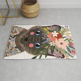 Siamese Cat with Flowers Rug