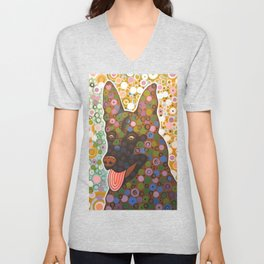 Zeus ... Abstract pet animal dog portrait art, German Shepherd Unisex V-Neck