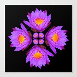 Purple Lily Flower - On Black Canvas Print