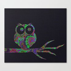 Owl on a branch Canvas Print