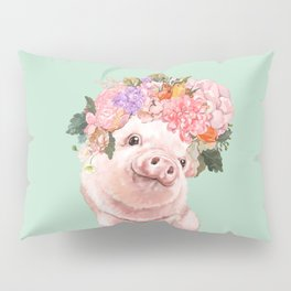 Baby Pig with Flowers Crown in Pastel Green Pillow Sham
