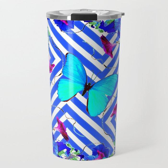 Geometric  Blue Butterflies &  Purple Morning Glories Travel Mug