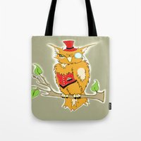 steam punk Tote Bags featuring Steam Punk Owl by J&C Creations