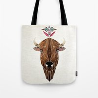 bison Tote Bags featuring bison by Manoou