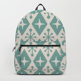 Mid Century Modern Atomic Triangle Pattern 710 Green and Beige Backpack