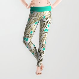 Gold & Turquoise Olive Branches Leggings