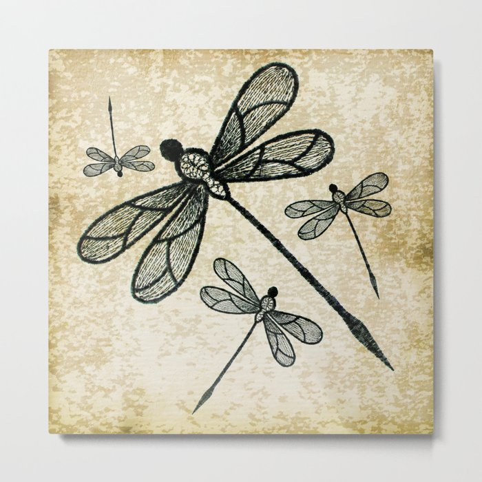 Dragonflies on tan texture Metal Print