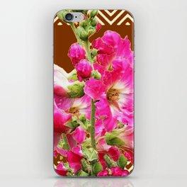 Coffee Brown Fuchsia Pink Holly Hocks Pattern Flora Art iPhone Skin