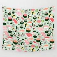 watch Wall Tapestries featuring Sushi Love by Kristin Nohe Juchs