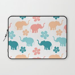 cute colorful pattern with elephants and flowers Laptop Sleeve