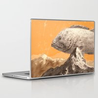 bass Laptop & iPad Skins featuring Mountain Bass by Sam Rowe Illustration