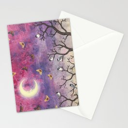 chickadees and io moths in the moonlit sky Stationery Cards