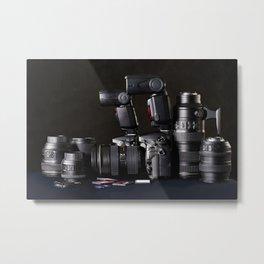 Set of photographs DSLR camera, lens and flash Metal Print