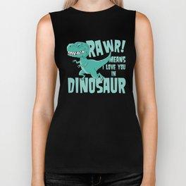RAWR! means i love you in Dinosaur trex Biker Tank