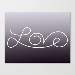 Love calligraphy print - Purple smoke gradient with white print Canvas Print
