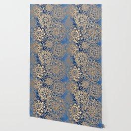 Blue and Gold Mandala Pattern Wallpaper