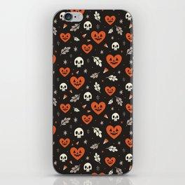 I Heart Halloween Pattern (Black) iPhone Skin