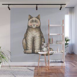 """""""Peace....now we're friend"""" (cat and mouse) Wall Mural"""