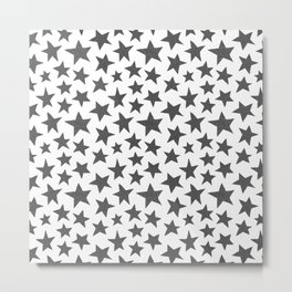 Grey Doodle Stars Metal Print