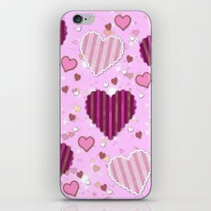 Pink Patchwork Hearts iPhone & iPod Skin